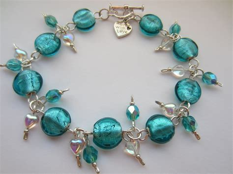 blue beaded bracelet teal blue glass bracelet teal blue indian glass teal