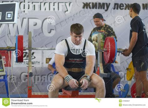 national bench press records competitions on powerlifting editorial photography image