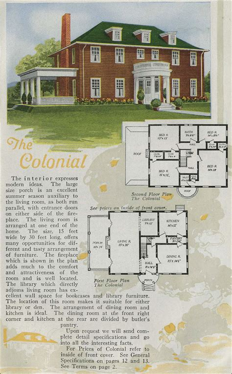 Colonial Revival House Plans by 1920 Homes Colonial Revival Half Portico