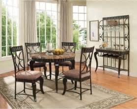Furniture Kitchen Table Acme Furniture 5 Pieces Galiana Brown Round Marble Top