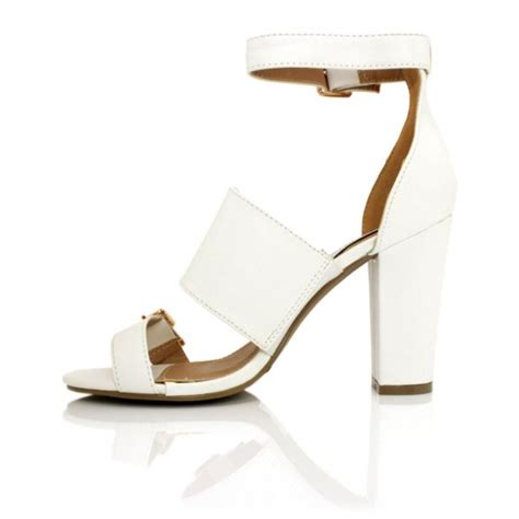 white leather style heeled sandals buy white leather