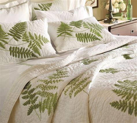 Organic Quilts And Coverlets fern embroidered organic quilt and sham contemporary quilts and quilt sets by pottery barn