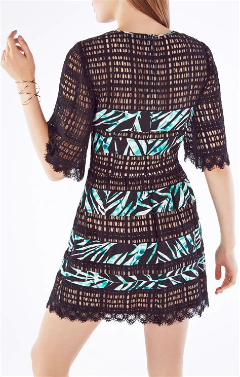 Dress Layna layna palms print blocked lace dress