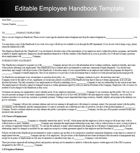 employee handbook template word employee handbook templates free word document