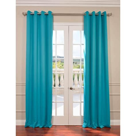 Turquoise Grommet Curtains Exclusive Fabrics Furnishings Turquoise Blue Grommet Blackout Curtain 50 In W X 84 In L