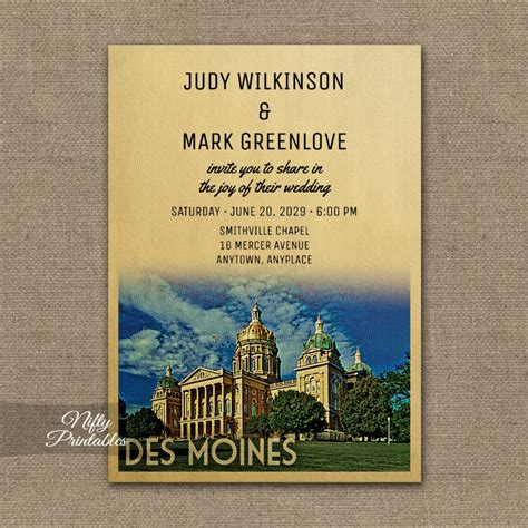 Wedding Invitations Des Moines by Des Moines Iowa Wedding Invitation Printed Nifty Printables