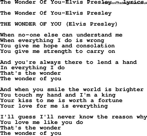 printable elvis lyrics love song lyrics for the wonder of you elvis presley
