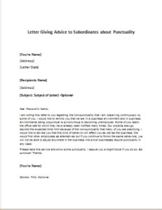 appreciation letter to your subordinate letter giving advice to subordinates about punctuality