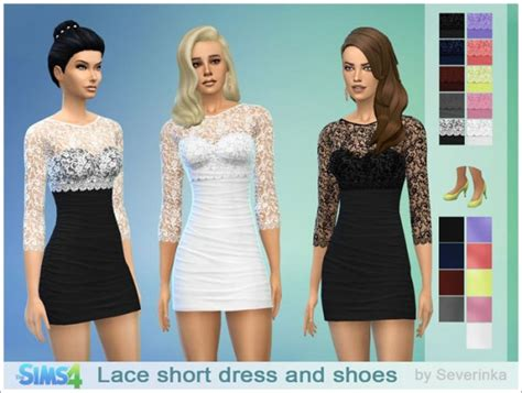 dresses sims 4 download sims by severinka lace short coctail dress and shoes
