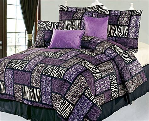Patchwork Comforter Set - purple and black patchwork comforter set safari bedding