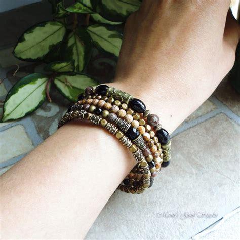 black and brown gemstone memory wire bracelet wrap around