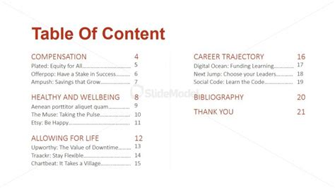 table of content slide design for playbook slidemodel