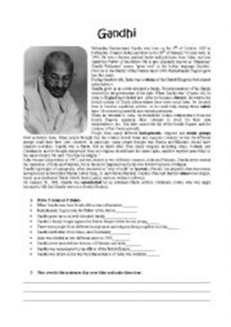 gandhi biography activity english worksheets gandhi