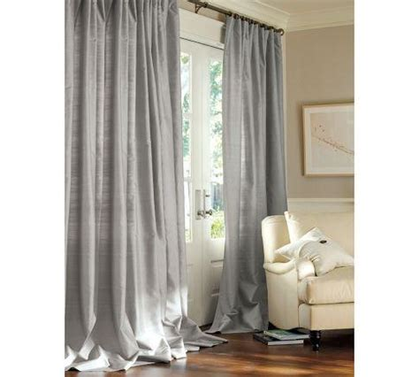 gray silk drapes dupioni silk pole pocket drape pottery barn