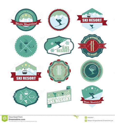set of ski mountain badges and patches stock vector