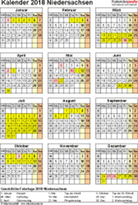 Kalender 2018 Zum Ausdrucken Mit Ferien Niedersachsen Kalender 2018 Niedersachsen Ferien Feiertage Pdf Vorlagen