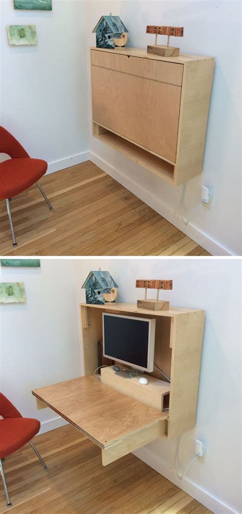 Wall To Wall Desk Diy 16 Wall Desk Ideas That Are Great For Small Spaces Contemporist