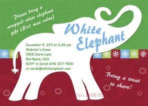 white elephant invitation customizable printable 4x6 or