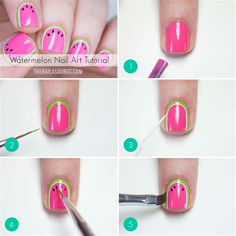 easy nail art picture tutorials watermelon nail art tutorial the nailasaurus uk nail
