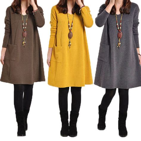 knitted tunic dresses uk chic womens tops knit sweater jumper tunic