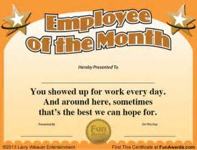 Employee Of The Month Certificate Templates Employee Of The Month Certificate Free Funny Award Template