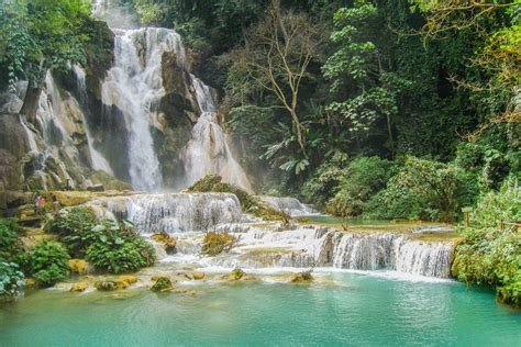 most beautiful waterfalls kuang si falls luang prabang the most beautiful waterfall