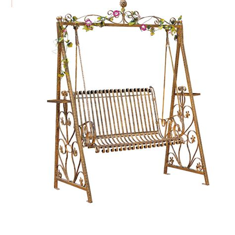 Wrought iron double swing outdoor rocking chairs hanging baskets park indoor balcony patio