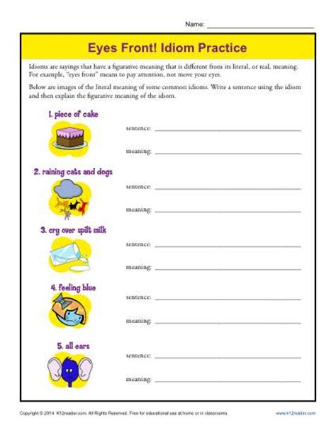prep 5th grade front idiom practice 4th and 5th grade worksheets pictures