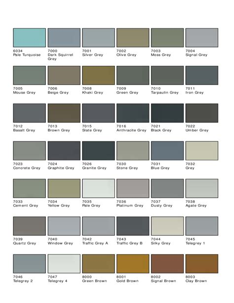 ral color chart standard ral color chart free