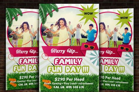 family fun day flyer templates by designhub