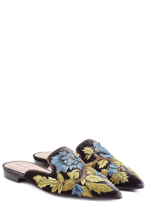 alberta ferretti embroidered velvet mules shoe la la