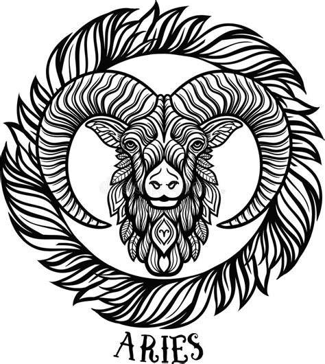 detailed libra in aztec filigree line zentangle style detailed aries in aztec style stock illustration