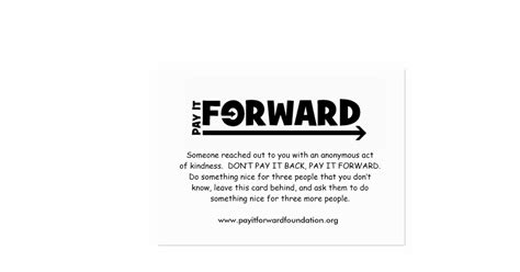 pay it forward card templates pay it forward card 2009 business card templates zazzle