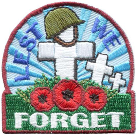 Patch Poppy Football Remember lest we forget crosses iron on embroidered patch by e patches crests