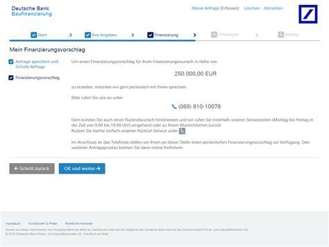 baufinanzierung bank deutsche bank baufinanzierung test und