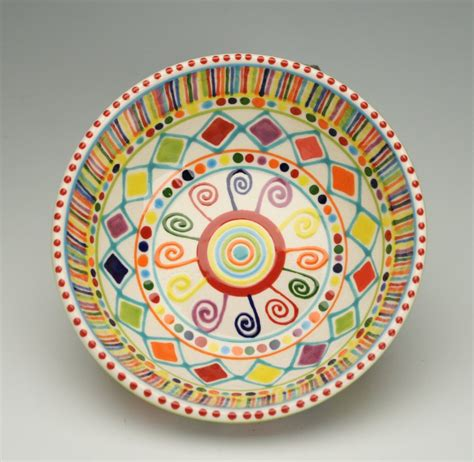 Painting Pottery by Bohemian Mandala Bowl Colorful Painted