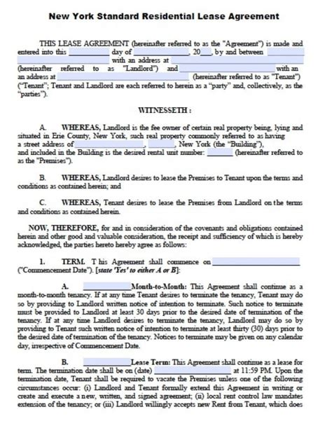 1 Year Lease Agreement Ny by Free New York Residential Lease Agreement Pdf Word Doc