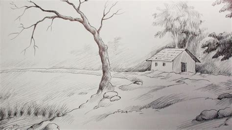 drawing of boat scenery pen ink drawing tutorial how to draw a scenery youtube
