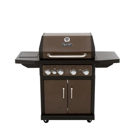 dyna glo 4 burner propane gas grill in bronze with side