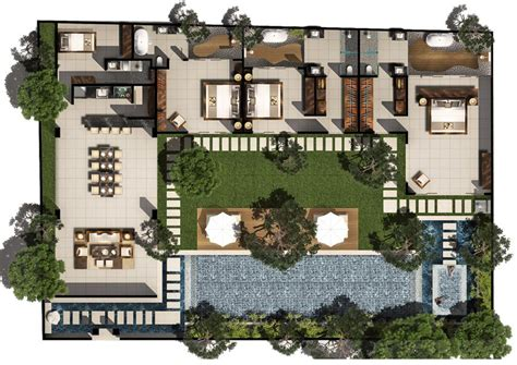 3 bedroom villas 3 bed pool villa floor plan chandra bali villas