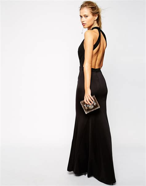 Bdg Highneck Black Dress lyst jarlo high neck maxi dress with open plunge