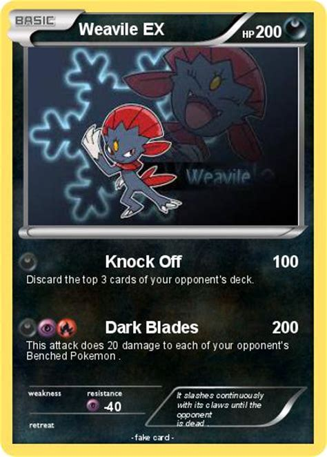 Kartu Weavile pok 233 mon weavile ex 5 5 knock my card