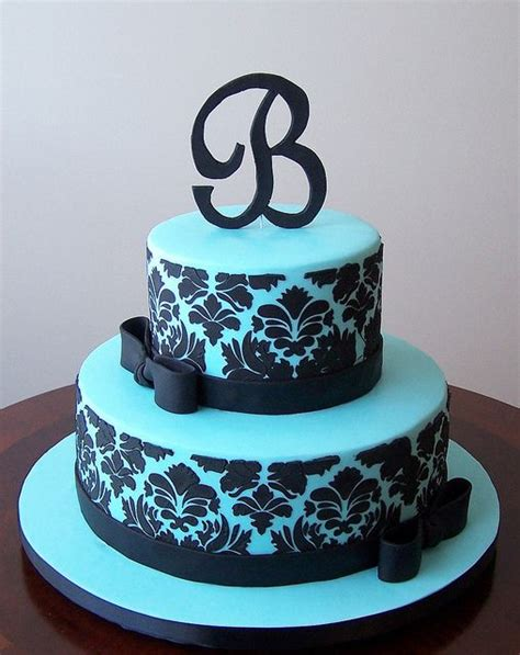 black pattern cake tiffany blue and black damask cake by cakespace beth
