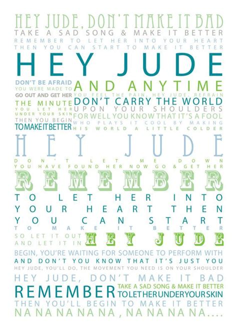 hey jude testo hey jude the beatles typographic print by