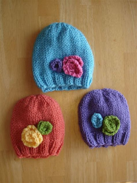 how to knit flower for baby hat stitching colors and the flowers on