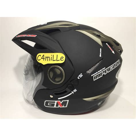 Helm Gm New Impreza 2 Visor Solid helm gm new imprezza visor hitam dop shopee indonesia