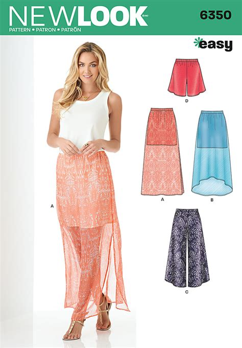 new pattern jeans 2016 new look 6350 misses skirt and wide leg cropped pants or