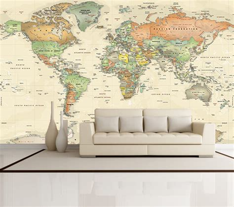 Wall Mural Maps Antique Oceans World Political Map Wall Mural Miller