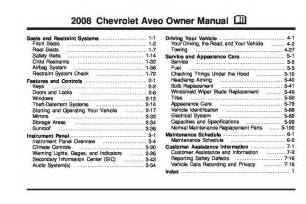 Chevrolet Aveo Repair Manual 2008 Chevrolet Aveo Owners Manual Just Give Me The Damn