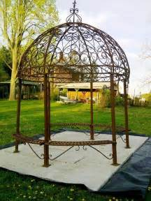 Backyard Metal Gazebos by Grand Wrought Iron Large Gazebo W Seating